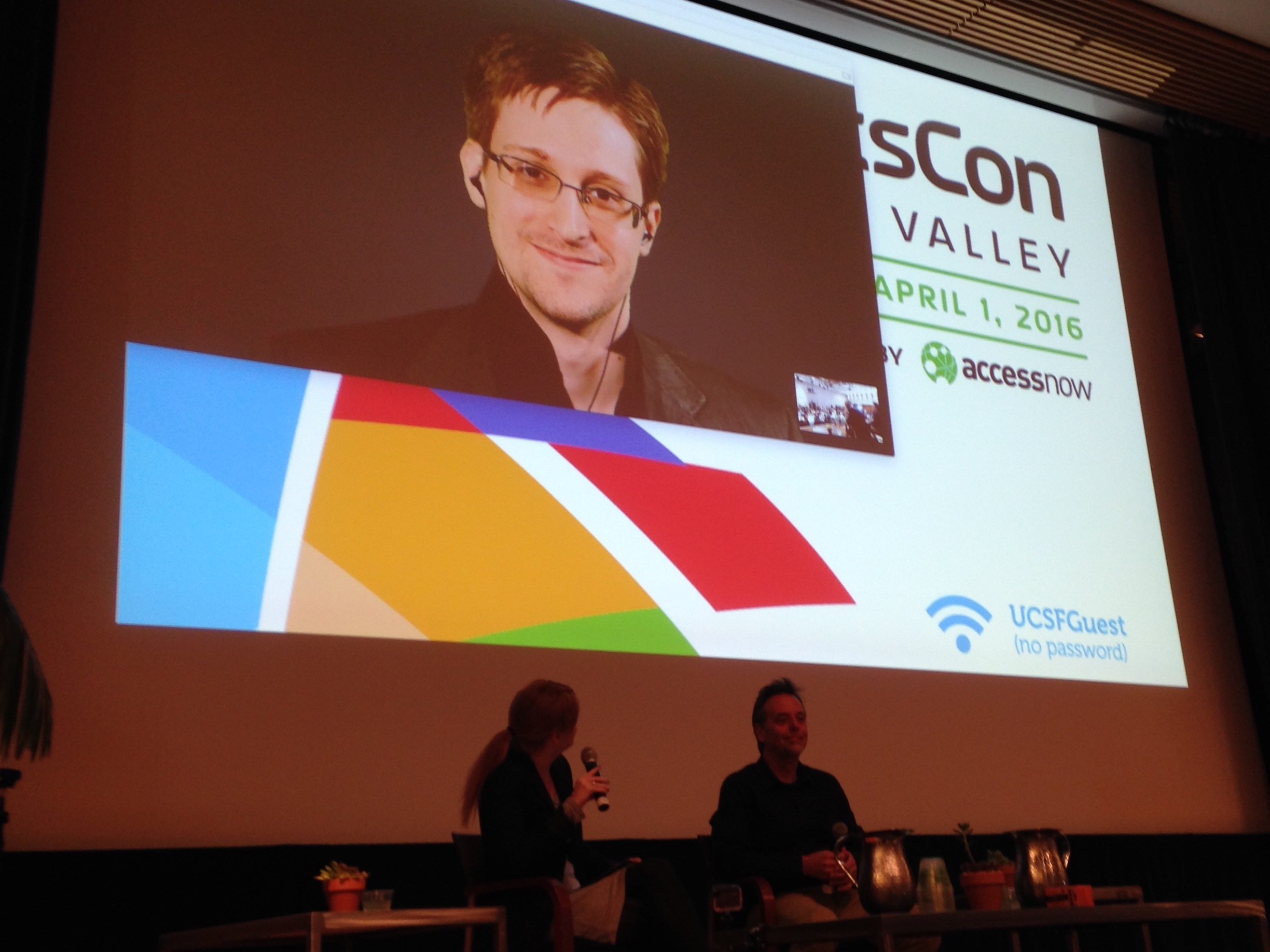 Edward Snowden was speaking remotely from Russian for RightsCon Silicon Valley 2016